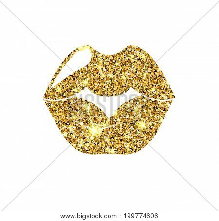 Gold glitter vector lips. Golden sparcle kiss. Luxury design element. Amber particles.