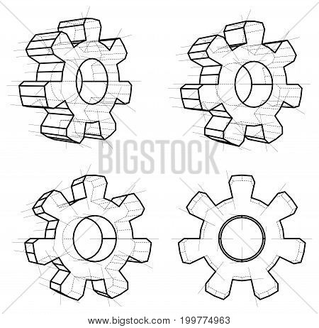 Four gears, white background. 3d gears in wire-frame style. Vector illustration