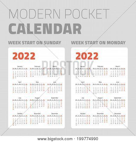 Modern pocket calendar on white background design set 2022