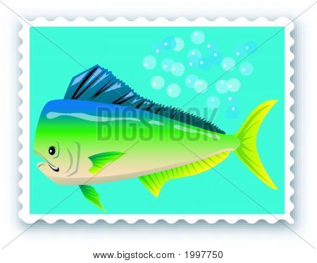 Stamp with an fish - Vector Format poster