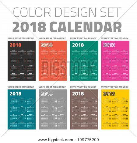 pocket calendar set 2018 on different color backgrounds