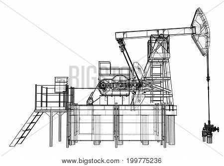 Oil pump jack in wire-frame style. Vector rendering of 3d