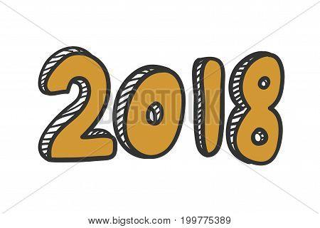 new year 2018 text design . Hand lettering design. Vector illustration.
