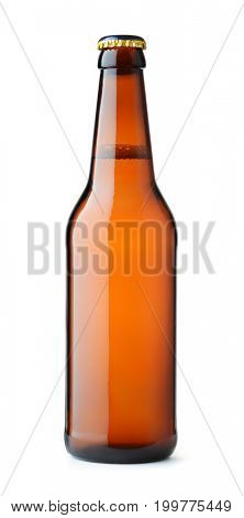 Front view of brown beer bottle isolated on white