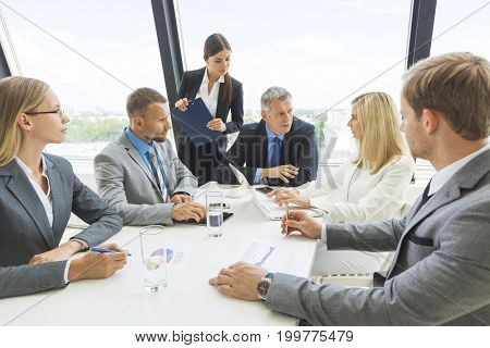 Business people briefing