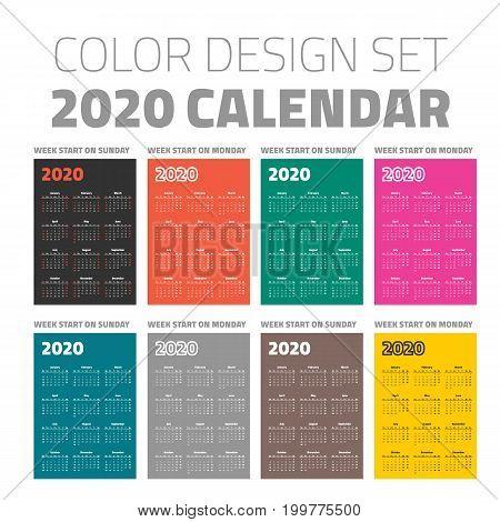 pocket calendar set 2020 on different color backgrounds