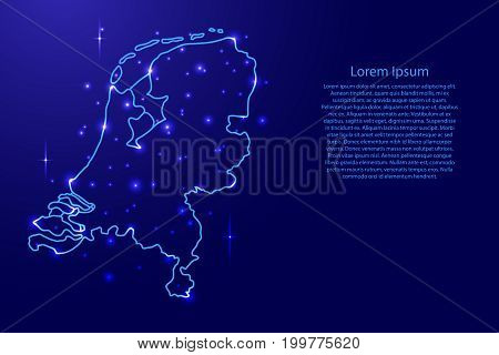 Map Netherlands from the contours network blue luminous space stars of vector illustration