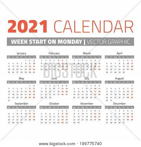 Simple 2021 year calendar, week starts on Monday