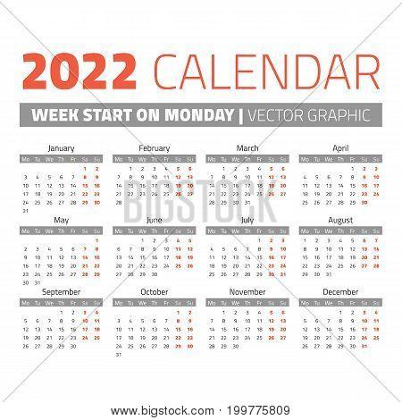 Simple 2022 year calendar, week starts on Monday
