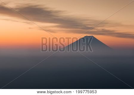 Top of Mountain Fuji in winter sunrise