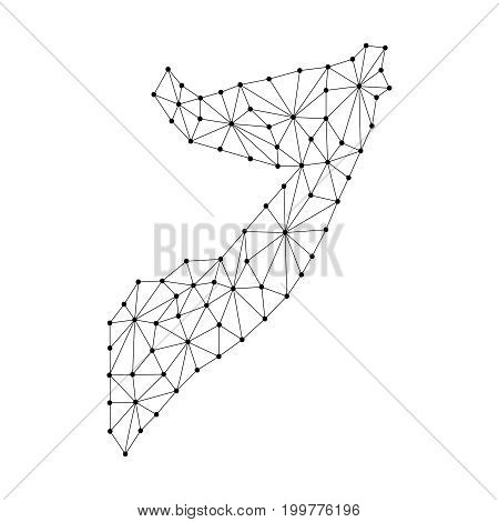 Somalia map of polygonal mosaic lines network rays and dots vector illustration.