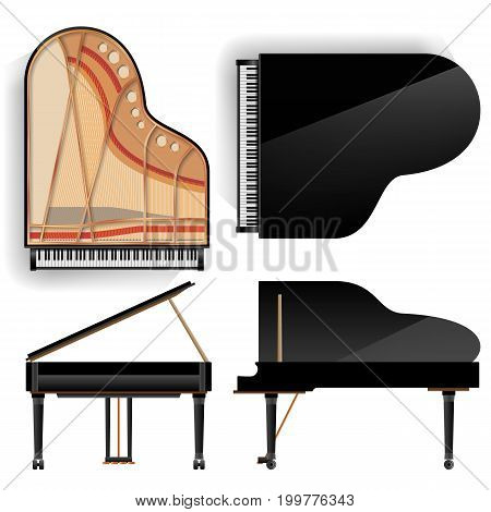 Black Grand Piano Set Icon Vector With Shadow. Realistic Keyboard. Isolated Illustration. Top And Back View