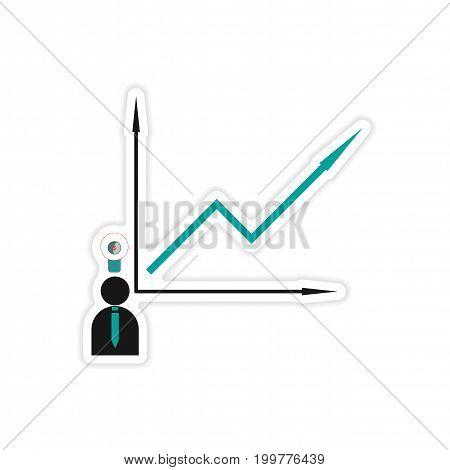 stylish sticker on paper Man and graph