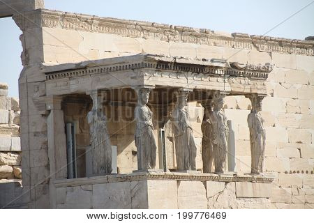 Morning temple in the Acropol. Greek vacations.