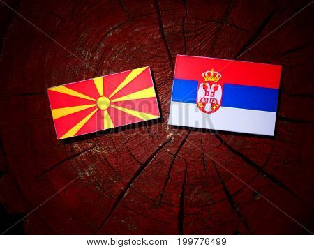 Macedonian Flag With Serbian Flag On A Tree Stump Isolated