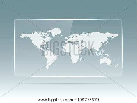 Transparent plastic or glass banner with a map of the earth on a white background. Transparent billboard with highlights. Transparent TV. Vector illustration.