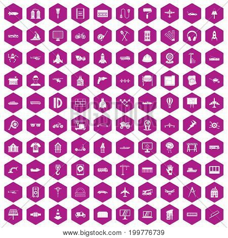 100 engineering icons set in violet hexagon isolated vector illustration