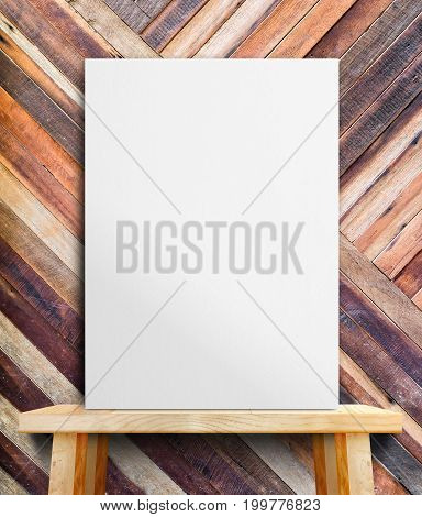Blank White Paper Poster On Wood Table At Diagonal Wood Tropical Wall,template Mock Up For Adding Yo