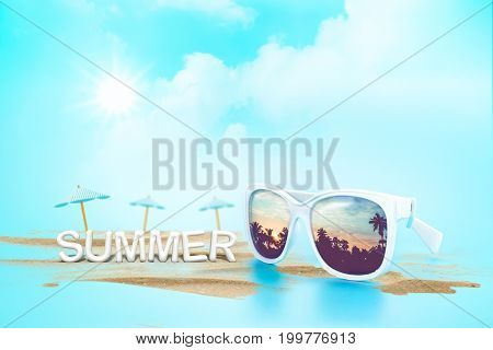 Sunglasses Reflection Sunset At Palm Tree Landscape And Beach Umbrella With Sand With Summer Word (3