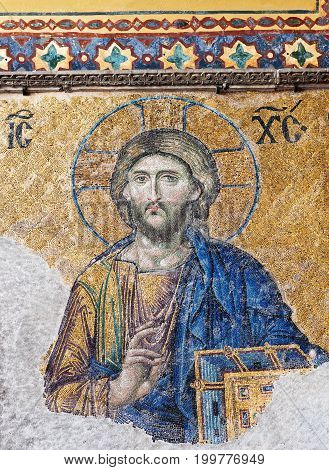 ISTANBUL, TURKEY - OCTOBER 30, 2015: Deesis -  Byzantine mosaic in the Hagia Sophia church showing the Judgment day with Jesus Christ. The Deesis mosaic probably dates from 1261