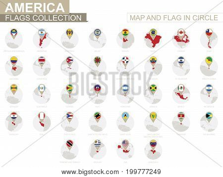 Map and Flag in Circle America Countries Collection. Alphabetically sorted flags and maps. Vector Illustration.