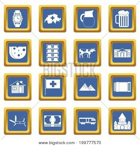 Switzerland icons set in blue color isolated vector illustration for web and any design