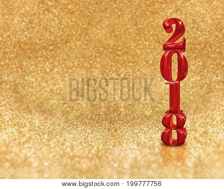 happy new year 2018 (3d rendering) red color at golden sparkling glitter room backgroundnew year an christmas greeting cardLeave space for adding your design.