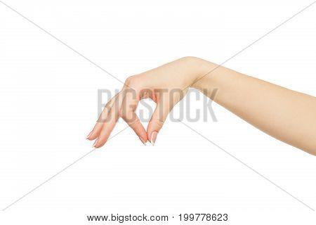 Female hand picking up some items isolated on white background, cutout, close up, copy space