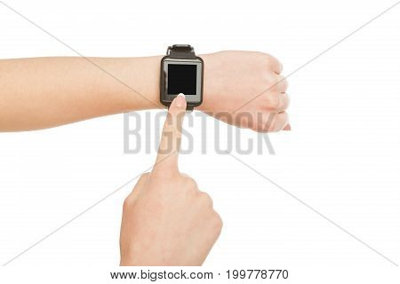Woman's hand with smart watch with blank screen isolated on white background, close-up, cutout, copy space on the screen
