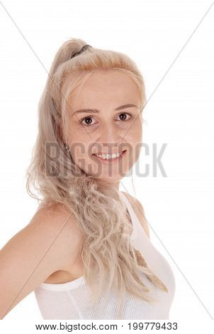 A close-up portrait image of a beautiful smiling woman with long blond hair and big eyes isolated for white background