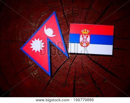 Nepali Flag With Serbian Flag On A Tree Stump Isolated
