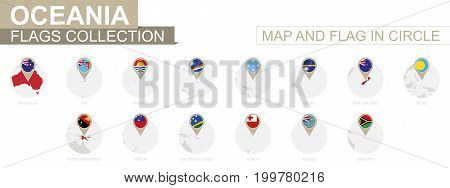 Map and Flag in Circle Oceania Countries Collection. Alphabetically sorted flags and maps. Vector Illustration.