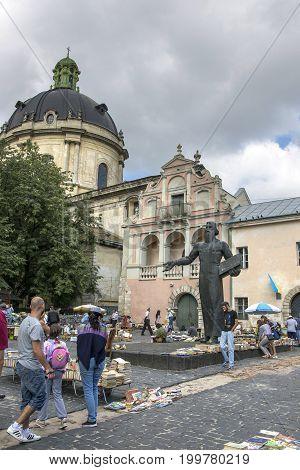 LVIV, UKRAINE - JULY 29, 2017:Monument to the first printer Ivan Fyodorov in Lviv on Podvalnaya Street