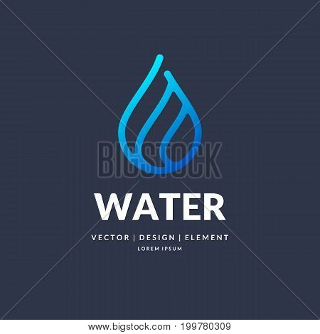Modern line vector logo of the water drop. Illustration in a minimalistic style on a dark background