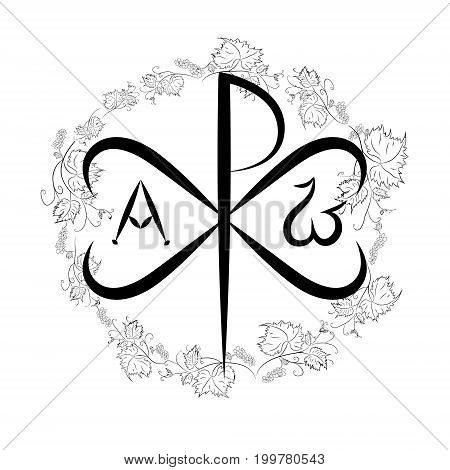 Chi Ro Chrisma or Chrismon. Monogram of the name of Christ. I am Alfa and Omega. Biblical lettering. Vector design. Grapes and vine as the symbols of the Christian religion. Used on Roman shields Labarum
