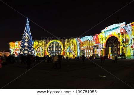 Light show on Palace square in the New Year Eve Saint Petersburg Russia