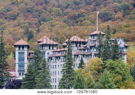 Dixville Notch New Hampshire USA - October 1 2009: The Balsams resort in Dixville New Hampshire before planned redevelopment expected to begin in 2016