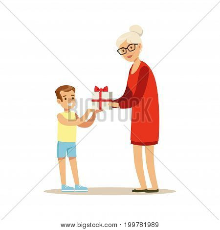Grandmother giving gift box to her happy grandson colorful characters vector Illustration isolated on a white background