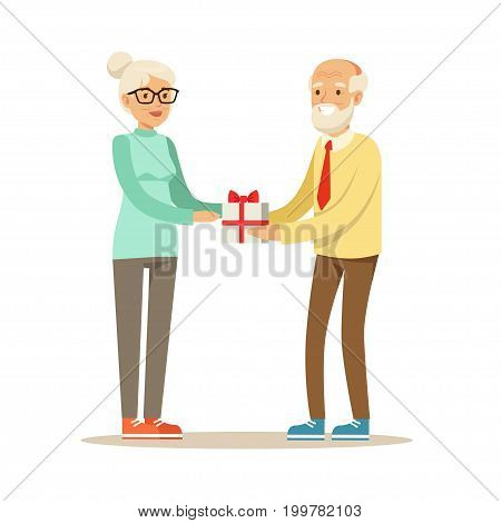 Smiling grey senior giving gift box to beautiful senior woman colorful characters vector Illustration isolated on a white background