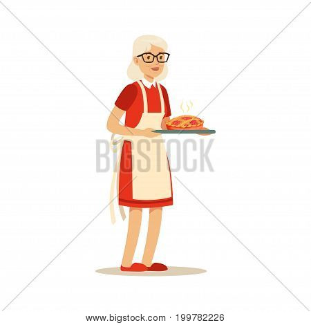 Senior woman standing and holding a tray with fresh baked pie colorful character vector Illustration isolated on a white background