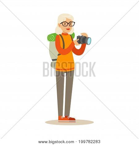 Active tourist senior woman with backpack taking photo using camera colorful character vector Illustration isolated on a white background