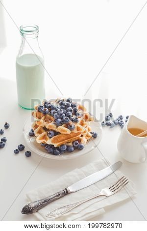 Delicious Breakfast Of Waffles With Blueberries And Milk And Honey In Saucer