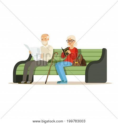 Seniors sitting on a wooden bench and reading books colorful characters vector Illustration isolated on a white background