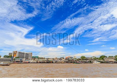 Bangkok Thailand - August 2017 : Picture of Many ship roaming And docking at Tha Prachan waterfront against the sky top Attractions of Chao Phraya river Bangkok Thailand