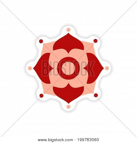 paper sticker Indian symbols on white background