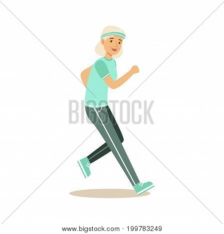 Active senior runner woman doing exercise to stay healthy, healthy active lifestyle colorful characters vector Illustration isolated on a white background