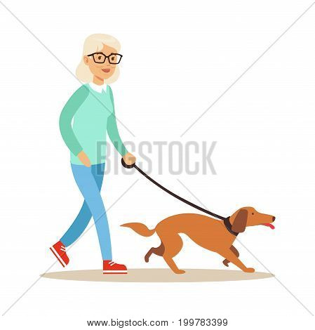 Senior woman walking with dog, healthy active lifestyle colorful characters vector Illustration isolated on a white background