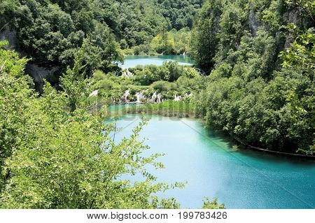 the lovely Plitvice lakes in the national park, Croatia