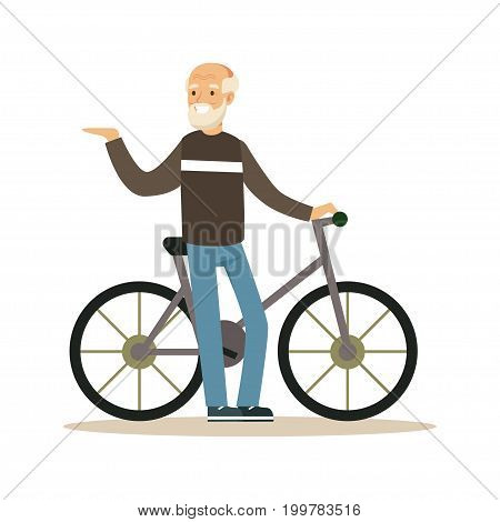 Happy senior man walking with bike, healthy active lifestyle colorful character vector Illustration isolated on a white background