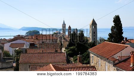 rooftops and bell towers in the old town of Rab, Croatia